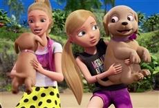 Escena de Barbie y sus hermanas en la búsqueda de perritos