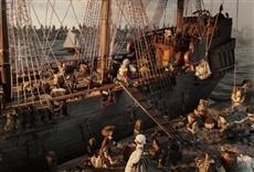 Escena de Selkirk, el verdadero Robinson Crusoe